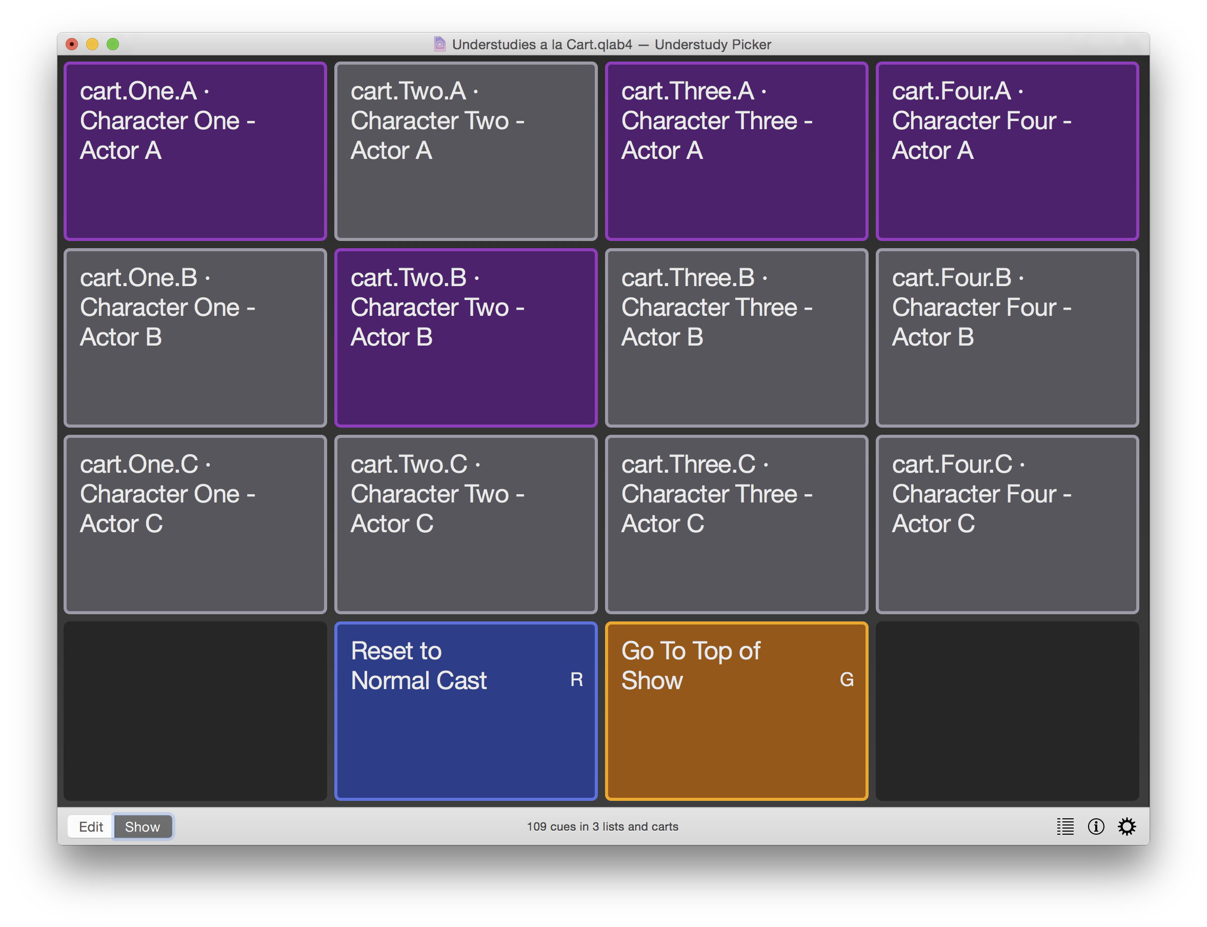 QLab 4 cue cart screenshot
